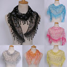Внешний вид - Women Lace Sheer Triangle Veil Church Mantilla Scarf Shawl Wrap Tassel Floral