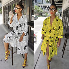 Fashion Women's Newspaper Print Sleeve Long Coat Button Casual Long Shirt Dress