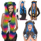 GOTH FAUX FUR FLUFFY HAT & SCARF  WITH EARS ANIMAL ALTERNATIVE 8 COLOURS