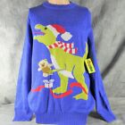 NWT TIPSY ELVES Ugly Christmas Sweater T-REX in Santa Hat with Teddy Bear ANB