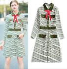 Halloween Lapel neck Long sleeves Single breasted Pocket Print Plaid dress