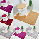 3pc Bathroom Set Rug Contour Mat Toilet Lid Cover Plain Solid Color Bathmats Hot