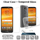 Clear TPU Gel Case Cover + Tempered Glass For Motorola Moto E4 E5 G6 Play G5