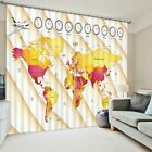 3D 2 Panel Curtain Set World Map Airplane Travel Clock Blackout Style