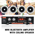 220V 2Channel Bluetooth Stereo Amplifier+Ceiling Speaker 3D Surround Office Home
