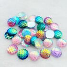 80pcs 12mm AB Fish Scale Resin Mermaid flat Back Crafts botones decorativos -A12
