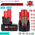 12V Red Lithium Ion Battery For MILWAUKEE M12 M12B M12B4 48-11-2402 48-11-2401