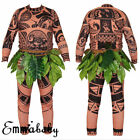 Halloween Adult Mens Kid Moana Maui Tattoo T Shirt Pants Cosplay Costume Cosplay