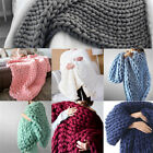 Warm Handmade Chunky Knit Blanket Thick Line Yarn Knitted Throw Home Decor image