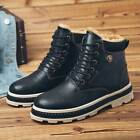 Winter Mens Leather Martin Boots Plus Velvet Outdoor Warm Shoes High Top Snow