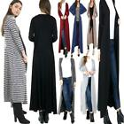 Womens Stripe Floaty Modest Long Cardigan Ladies Open Longline Party Maxi Shrug