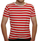 MEN'S RED WHITE STRIPED SHORT SLEEVE T SHIRT FANCY DRESS PIRATE FRENCHMAN UNISEX