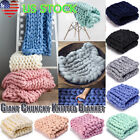 Merino Wool Blanket Mat Chunky Knitted Blanket Thick Yarn Throw Arm Knit Blanket image