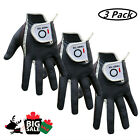 Men's Golf Gloves Wet Weather 3 Pack Right Hand Left Hand Black Grey Rain Grip