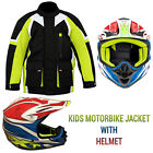 Kids Childrens Waterproof CE ARMOURED Motorcycle Motorbike Cordura Racing Jacket