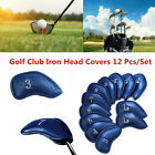 Golf Iron Head Covers PU Leather 12 Pack with Numbers Blue Red Black Colors AU