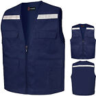 Hi Vis Reflective Safety Navy Vests Multi Pockets Work Uniform Waistcoats LD25
