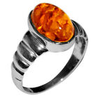 3.4g Authentic Baltic Amber 925 Sterling Silver Ring Jewelry N-A7008