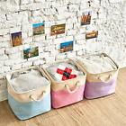 3PCs Collapsible Storage Bins Basket Foldable Canvas Fabric Tweed Storage Cubes