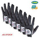 Golf Gloves Rain Grip Men's 6 Pack Wet Weather Right Hand LH RH Black Grey AU