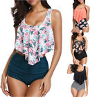 Sexy Women Two Piece Plus Size Backless Tankini Floral Printed Swimwear Swimsuit