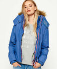 New Womens Superdry Hooded Fur Sherpa SD-Wind Attacker Jacket Light Blue Marl