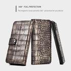 Fr iPhone 8 XS XR Luxury Magnetic Crocodile Leather Removable Wallet Stand Case