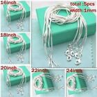 "16-24""5pcs 925 Solid Silver Snake Chain Women Pendant Necklace Jewelry Mom Gift"