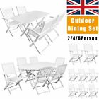 2/5/7 Pcs Outdoor Garden Dining Set Patio Furniture Table Foldable Chairs White