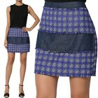 TheMogan Chambray Denim Panel Checked A-Line Woven Mini Skirt Casual to Formal