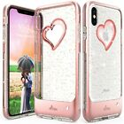 For iPhone 11 Pro Max XR XS Max Case 【vLove♡】 Glitter Hybrid Bumper Soft Cover