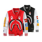 Men/Women Bape A Bathing Ape Shark Jaw Sports Jacket Hoodie Baseball Coat Sweats