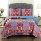 Kenzy Oversized 3 Piece Coverlet Set Retro Chic Printed Quilted Coverlets