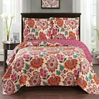 Tamiya Oversized Reversible Coverlets  Luxury Floral Printed 3 Piece Quilt Set image