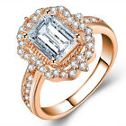 Gorgeous Rings for Women Rose Gold Filled Jewelry White Sapphire Ring Size 6-10