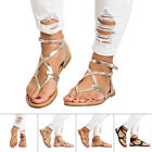 Women Sandals Flats Gladiator Thong PU Leather Casual Beach Rome Shoes Sizes