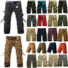 Mens Cargo Pants Shorts Trousers Casual Work Hiking Military Camo Combat Army