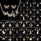 Fashion Stainless Steel Women Gold Jewelry Set Pendant Party Earrings Necklace image