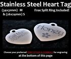 Stainless Steel HEART ID Tag & FREE Personalised Engraving for Dog Cat Pets