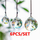 6Pcs Clear Crystal Ball Suncatcher Prisms Pendant Rainbow Hanging Wedding Decor