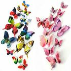 12pcs/bag 3d Pvc Double Wing Butterfly Ornaments With Pins For Home Decoration