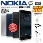 New & Sealed Factory Unlocked Nokia 6 Black Blue Silver 64gb Android Smartphone
