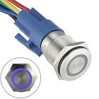 16mm Latching Push Button Switch 12V DC On Off Stainless Steel LED Self locking