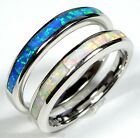 White & Blue Fire Opal Inlay 925 Sterling Silver Band Ring Set Size 6,7,8,9