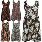New Womens Plus Size Summer Floral Buckle Knee Length Maxi Dress 8-26