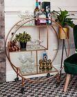 Rose Gold Round Drinks Trolley with 2 Tiers 30's Art Deco Vintage Home Bar Cart