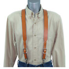 Premium Tan Leather Suspenders with scissor trigger snaps Sale 25