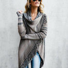Damen Gestreift Wasserfall Strickjacke Cardigan Strickpullover Poncho Metal Mode