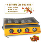 4 Burners BBQ Gas Grill LPG Outdoor Smokeless Yellow silver height-adjustable