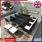 Rattan Outdoor Dining Set 8/10/12 Seater Black Table & Chairs Garden Furniture